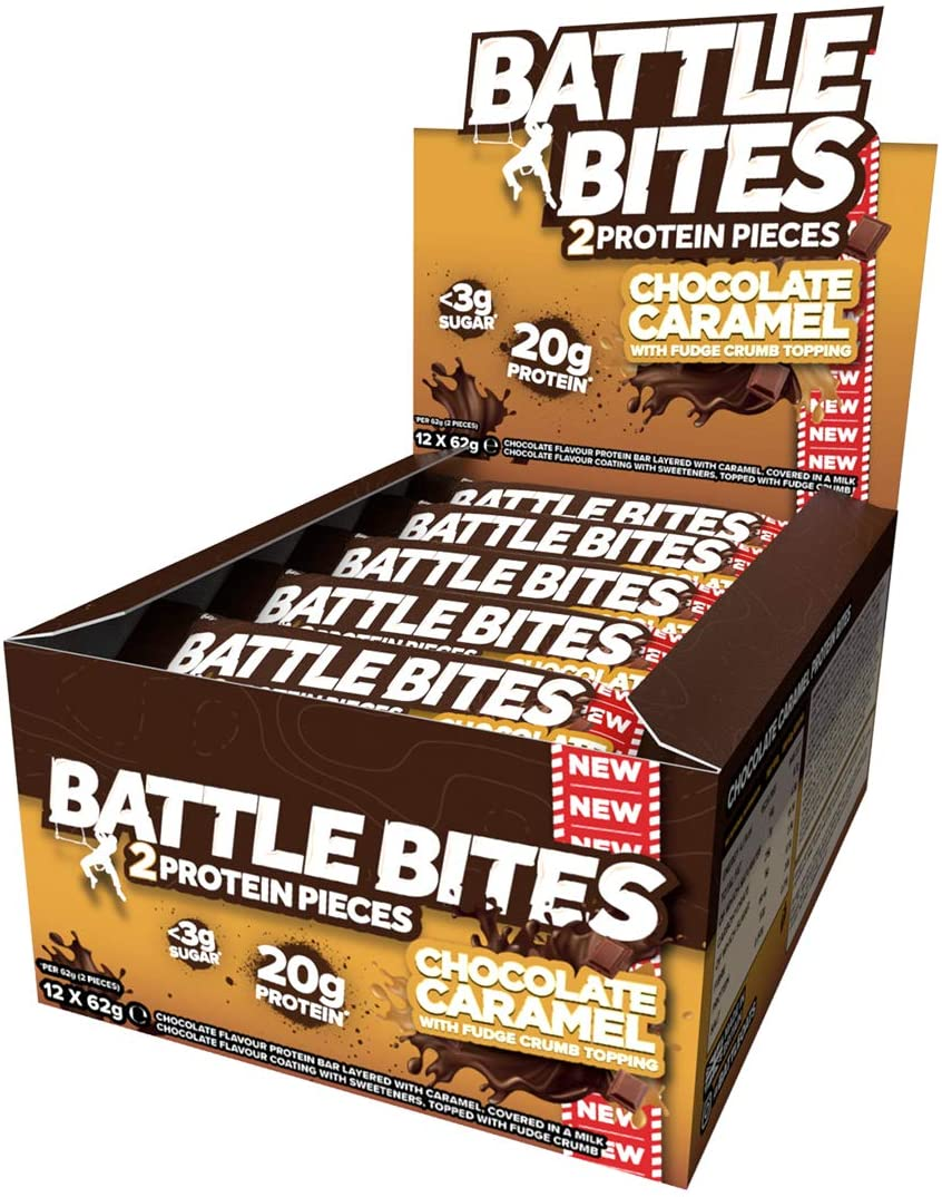 Battle Bites Protein Bar – Chocolate Caramel With Fudge Crumb Topping